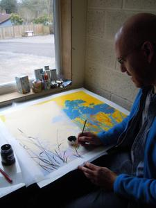 Henrik Simonsen painting one of the 18 artworks for 'Yellow Light'